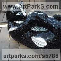 Young Animal Bird, Reptile or Amphibian and possibly Insects Statues by sculptor artist Nad�ge Gesvres titled: 'Chat chic (Playful Recumbent Black Kitten/cat Mosaic statues/sculpture)' in Mosaique,platre,resine epoxy