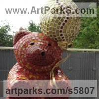 Toys Sculpture / statue / statuette / figurine by sculptor artist Nad�ge Gesvres titled: 'petit Ours (Mosaic Teddy Bear and Ball Sitting Indoor sculptures/statue)' in Platre