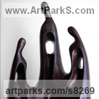 Abstract Modern Contemporary Sculpture Statues statuettes figurines statuary by sculptor artist Nando Alvarez titled: 'Family I (Bronze Contemporary Parent Child statues)' in Bronze