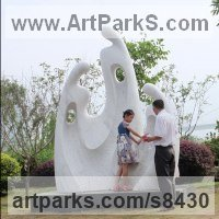 Public Park or Urban Landscape or Corporate sculpture / Fountain / Sratuary by sculptor artist Nando Alvarez titled: 'Family II (Big Carved marble Contemporary sculpture)' in Marble