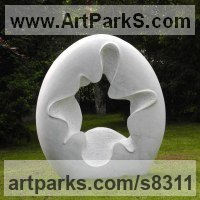 Abstract Modern Contemporary Sculpture Statues statuettes figurines statuary by sculptor artist Nando Alvarez titled: 'Ingravity (Big Circular Modern marble garden statue)' in Carrara marble