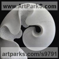 Indoor Inside Interior Abstract Contemporary Modern Sculpture / statue / statuette / figurine by sculptor artist Nando Alvarez titled: 'Spring (Carved Unfurling Fern Frond Leaf sculptures)' in Marble