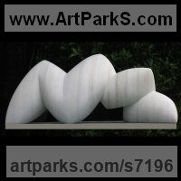 Organic / Abstract Sculpture by sculptor artist Nando Alvarez titled: 'Fauna (Modern Contemporary abstract White marble stone garden statue)' in Marble sculpture