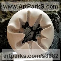 Indoor Inside Interior Abstract Contemporary Modern Sculpture / statue / statuette / figurine by sculptor artist Nando Alvarez titled: 'Cloud II (large Circular abstract Indoor statuette)' in Carved marble