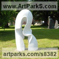 Abstract Modern Contemporary Sculpture Statues statuettes figurines statuary by sculptor artist Nando Alvarez titled: 'Wave (Carved Contemporary marble garden sculptures)' in Carved carrara marble