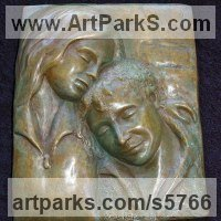 Bas Reliefs or Low Reliefs by sculptor artist Naomi Bunker titled: 'A Moment in Time (bronze Mother and Child Bas Relief)' in Bronze