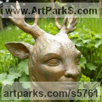 Deer Sculpture by sculptor artist Naomi Bunker titled: 'Deerman (bronze Forrest Spirit Boy/Stag sculptures)' in Bronze lost wax