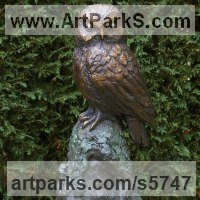 Wild Bird Sculpture by sculptor artist Naomi Bunker titled: 'Tawny Owl (bronze Raptor Perched Stump garden statue)' in Bronze