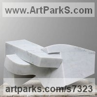 Modern Abstract Contemporary Avant Garde Sculpture or Statues or statuettes or statuary by sculptor artist Neil Ferber titled: 'Il Dito (Small abstract Contemporary Carved marble statuette)' in Carrara marble