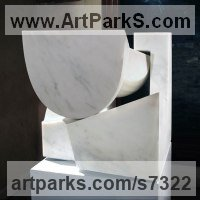 Modern Abstract Contemporary Avant Garde Sculpture or Statues or statuettes or statuary by sculptor artist Neil Ferber titled: 'San Giorgio (Homage to Palladio Contemporary abstract statue Carving)' in Carrara marble