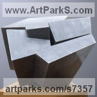 Modern Abstract Contemporary Avant Garde Sculpture or Statues or statuettes or statuary by sculptor artist Neil Ferber titled: 'ZIG ZAG (Contemporary abstract Carved marble Grey Angular statue)' in Bardiglio marble