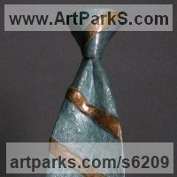 Necktie Sculpture by sculptor artist Nicholas B. Daddazio titled: 'Repp Stripe' in Bronze
