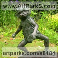 Fairies Imps Trolls Gnomes Pixies Elves Goblins Hobgoblins Leprechauns Gremlins Elfs statuettess figurines Sculpture Statues by sculptor artist Nicholas Collins titled: 'Forest Elf (garden Elf Pixies sculptures statues)' in Bronze resin & concrete