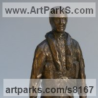 Military, Soldiers, Sailors, Marines Airmen and Military Equipment by sculptor artist Nicholas Collins titled: 'Modern RAF Pilot (jet Fighter and Flying Suit statue statuette sculpture)' in Bronze resin