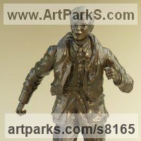Military, Soldiers, Sailors, Marines Airmen and Military Equipment by sculptor artist Nicholas Collins titled: 'One of the Few (Battle of Britain Pilot and Flying Gear statue statuette)' in Bronze resin
