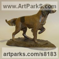Miniature Sculpture, statuettes or figurines by sculptor artist Nicholas Collins titled: 'Young Springer Spaniel (Little Standing English Gun Dog statuette)' in Bronze resin