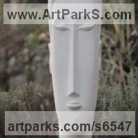 Modern Abstract Contemporary Avant Garde Sculpture or Statues or statuettes or statuary by sculptor artist Nicola Axe titled: 'African (Carved stone Peaceful Contemplation Head statue sculpture)' in Portland stone
