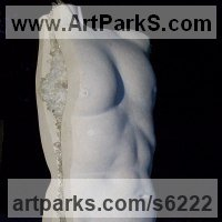 Figurative Abstract Modern or Contemporary Sculpture Statues statuary statuettes figurines by sculptor artist Nicola Axe titled: 'Crystal Torso (Modern Carved nude Naked Male Torso sculptures/statues)' in Portland stone, ashburton marble plinth