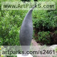 Organic / Abstract Sculpture by sculptor artist Nicola Beattie titled: 'Pod (Graphite resin abstract Flame Shaped garden sculptures statues)' in Cold cast graphite