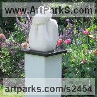 Stylised Heads / Busts Sculpture by sculptor artist Nicola Beattie titled: 'To Gaze and Wonder (Stone Outdoor Torso garden statue)' in Portland stone