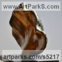 Organic / Abstract Sculpture by sculptor artist Nicola Beattie titled: 'Wavy Clam (bronze resin life size Shell Indoor/Outdoor statuary)' in Cold cast bronze