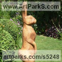 Chainsaw Sculpture by sculptor artist Nigel Sardeson titled: 'Hare (life size Carved Wood Mad March Standing Alert sculptures/statue)' in Elm wood