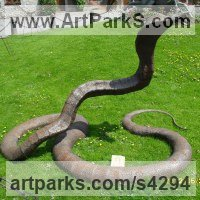 Reptiles Sculpture and Amphibian Sculpture by sculptor artist Orhan Rashtana titled: 'King Cobra II (Giant Snake/serpent/reptile Steel garden/yard sculpture)' in Iron