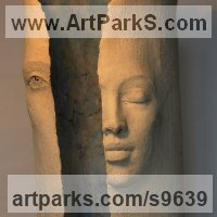 Column Pillar Columnar Stele sculpture statue statuary by sculptor artist Paola Grizi titled: 'Dreaming' in Terracotta