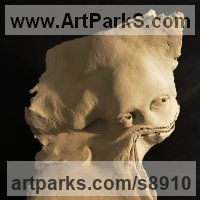 Emerging Form or Face or Feature sculpture statue statuette for sale by sculptor artist Paola Grizi titled: 'Wastepaper (Paola Grizi Girl`s Face sculptures statues)' in Terracotta