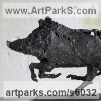 Pigs, Sows, Boars, Hogs, Piglets Sounders Sculpture or Statues by sculptor artist Patrice Mesnier titled: 'Sanglier (Metal Little Charging Wild Boar sculptures/statuettes)' in Steel
