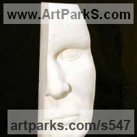 Figurative Abstract Modern or Contemporary Sculpture Statues statuary statuettes figurines by sculptor artist Patrick Barker titled: 'A little of what you know so well (Big Head Contemporary Yard sculpture)' in Tervoux stone