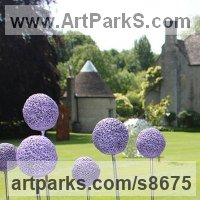 Vegetable Sculpture / Statues / statuettes by sculptor artist Paul Cox titled: 'Allium Field (life size Onion Flowers sculptures statue)'