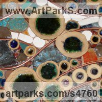Mosaic Sculpture by sculptor artist Paul Hardcastle titled: 'Water Water (Exuberant Colourful abstract Modern Contemporary Wall Art)' in Mixed media