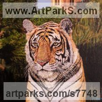 Cats Wild and Big Cats Sculpture by sculptor artist Paul John Grundy titled: 'The Raj (Dreaming spires and tales of Tiger) Realistic Bengal Painting' in Acrylic on canvas board
