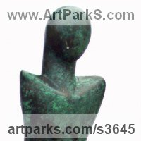 Small / Little Abstract Contemporary Sculpture / Statues by sculptor artist Perryn Butler titled: 'Lady Serenity (Contemporary abstract female statue)' in Bronze resin