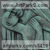 Bas Reliefs or Low Reliefs by sculptor artist Perryn Butler titled: 'Valentine' in Bronze resin in a wooden frame