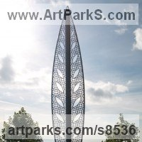 Modern Abstract Contemporary Avant Garde Sculpture or Statues or statuettes or statuary by sculptor artist Pete Moorhouse titled: 'Aspora (Tall abstract stainless Steel Park Urban statue)' in Stainless steel