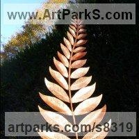 Tree Plant Shrub Bonsai sculpture statue statuette by sculptor artist Peter M Clarke titled: 'Pinnate Leaf Form (Big Natural Shaped garden Outside statue)' in Mild steel