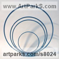 Symmetric Sculpture / Statues / statuettes / statuary by sculptor artist Philip Melling titled: 'Loop XVI (Concentric Circles blue abstract sculptures)' in Steel