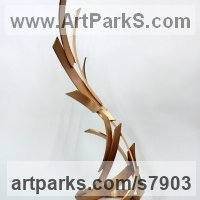 Construction Abstract Sculpture Statues by sculptor artist Philip Melling titled: 'Pyre VIII (abstract Modern Indoor bronze Fire Flame statue statuette)' in Bronze