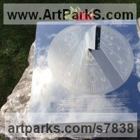 Sundials by sculptor artist Piers Nicholson titled: 'Memorial Sundial in the National Arboretum' in Stainless steel