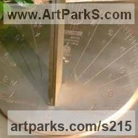 Sundials by sculptor artist Piers Nicholson titled: 'Sundial for the RHS Bicentenary (Brass Contemporary)' in Brass