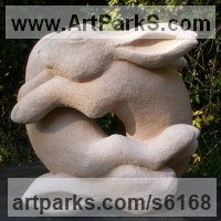 'Tumbling Hares (Mad March Hares garden statue sculpture)' by Pippa Unwin