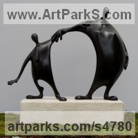 Friendship Friends chummyness Amicability Camaraderie Cordility Kindred Spirit by sculptor artist Plamen Dimitrov titled: 'Friends (Miniature Small Meeting abstract statuette)' in Bronze