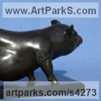 Pigs, Sows, Boars, Hogs, Piglets Sounders Sculpture or Statues by sculptor artist Priscilla Hann titled: 'Pot Belly 2 (Small bronze Pig Commission statue)' in Bronze