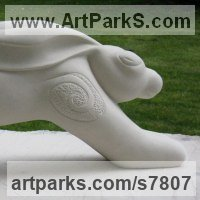 Hares and Rabbits Sculpture by sculptor artist Rachael De Freitas titled: 'HAROLD - the Hare' in Limestone stone
