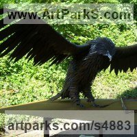 Birds of Prey / Raptors Sculpture by sculptor artist Ramsay Dick titled: 'Golden Eagle (Lifesize Steel fabricated garden sculpture statues)' in Welded mild steel