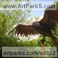 Birds of Prey / Raptors Sculpture by sculptor artist Ramsay Dick titled: 'Red Kite (Steel Bird of Prey life size garden sculptures)' in Welded mild steel