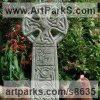Celtic Knot Work and Traditional Sculpture by sculptor artist Richard Austin titled: 'Celtic Cross (Traditional Interpretation Grave statue)' in Reconstituted stone