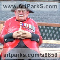 Historical Character Statues / Sculpture by sculptor artist Richard Austin titled: 'Chelsea Pensioner (Colourful Caricature life size statue)' in Resin composite